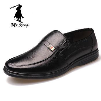 米斯康男鞋春秋新款时尚牛皮男士商务正装鞋真皮套脚耐磨皮鞋子男777