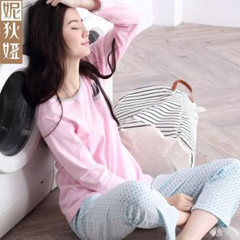 妮狄娅睡衣女纯棉长袖薄款居家服休闲简约碎花家居服套装NF61142