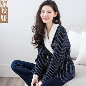 妮狄娅2017秋冬新款韩版女士睡衣秋纯棉长袖家居服长裤两件居家套装NF63139