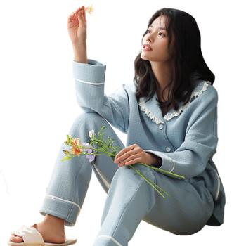 妮狄娅女士衣睡衣加厚家居服纯棉夹层长袖开衫甜美花边休闲居家服套装XF94192
