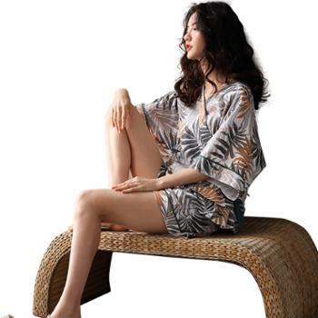 妮狄娅家服日式女士睡衣纯棉短袖和服开衫空调日系套装TF20203