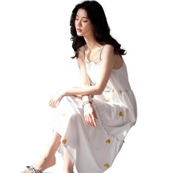 妮狄娅女士睡衣纯棉家居服性感吊带私房长裙长款甜美简约睡裙TF20218