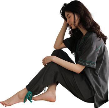 妮狄娅女士睡衣纯棉家居服短袖束脚口长裤开衫翻领居家服套装LF20226