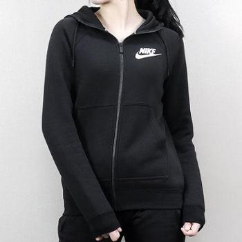 Nike耐克女装外套2018新款加绒连帽休闲茄克运动服855410-010SF