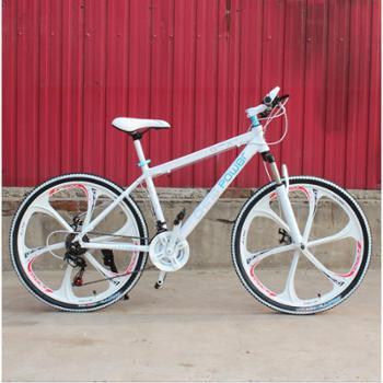 百途高配版一体轮变速山地车 双碟刹铝合金变速山地车 24速一体轮山地自行车