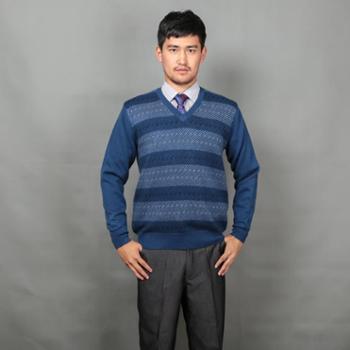 巴音孟克 男式电脑提花加厚百搭V领羊绒衫