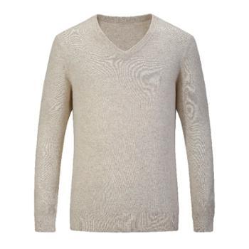 巴音孟克男式羊绒衫纯色V领羊绒毛衣