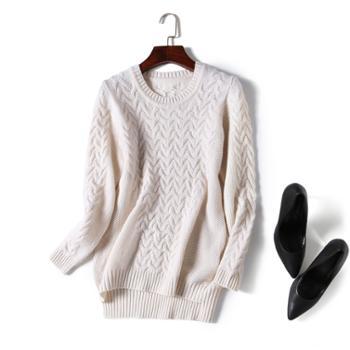 巴音孟克 圆领绞花纯羊绒衫加厚羊绒中长款毛衣