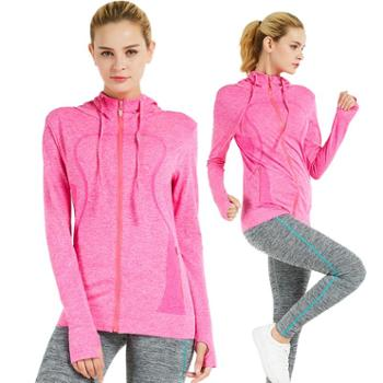 埃尔蒙特ALPINTMOUNTAIN户外跑步一体织连帽长袖开衫卫衣运动外套女瑜伽健身服健身衣