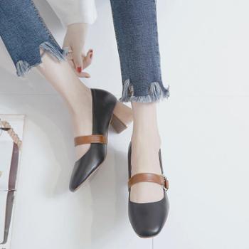 一字扣高跟鞋女夏2018新款玛丽珍鞋复古女鞋浅口单鞋女粗跟