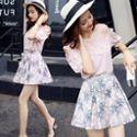 【新款包邮】短袖半身裙印花A字裙两件套韩版2017夏季新款中腰显瘦套装女夏潮女装