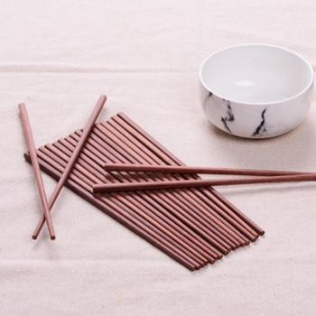 【新款包邮】天然红檀木筷子原木无漆无蜡 家用筷子10双套装