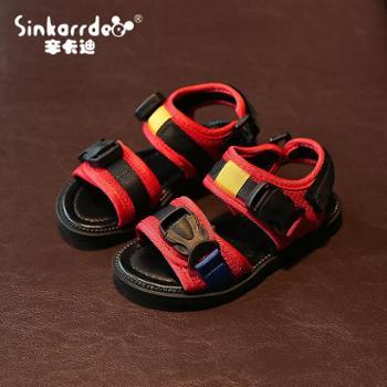 新款夏季儿童魔术贴凉鞋男童露趾沙滩鞋女童休闲运动凉鞋童鞋