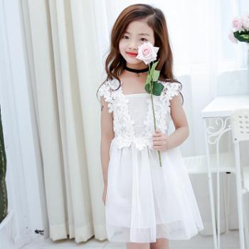 夏款甜美可爱荷叶边娃娃衫超仙连衣裙子童装