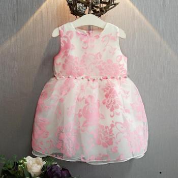 新款夏装甜美公主裙礼服裙洋气植绒背心连衣裙