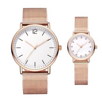 石英手表简约防水男士手表女款表不锈钢时尚纤薄情侣手表