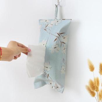 挂式布艺纸巾盒纸巾套卧室客厅棉麻创意抽纸袋纸巾袋纸巾包抽纸盒