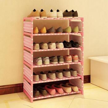 (生活用品简易鞋架)乐活时光简易鞋架铁艺多层组装收纳鞋架现代简约防尘鞋柜子