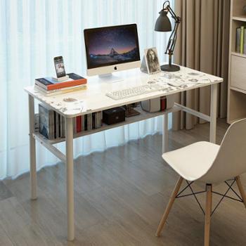 哈骆顿台式电脑桌家用床边办公学习书桌带书柜简易写字台单板桌