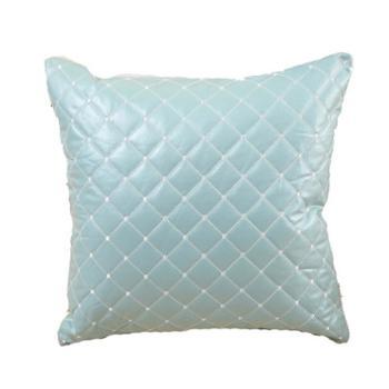 家居靠垫套/抱枕套 纯色北欧风格仿皮抱枕绣花格子