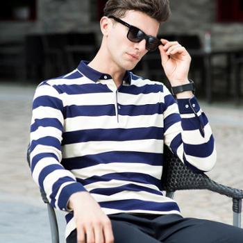 新款薄款男士纯棉长袖T恤英伦商务条纹青年上衣