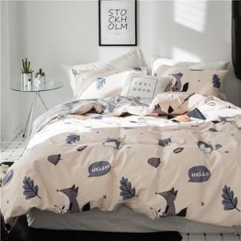 四件套春夏印花全棉四件套活性卡通花卉水果全棉四件套床上用品1