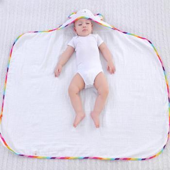 婴儿彩虹熊蜂巢浴巾纱布带帽浴巾120*85cm
