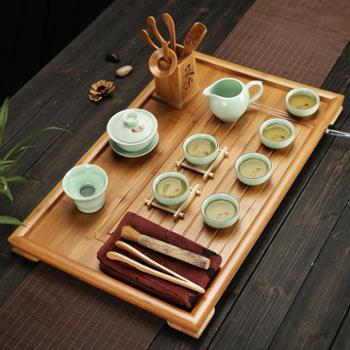 竹制茶盘实木简约茶海功夫茶具套装茶托盘家用平板茶台排水大小号 整套茶具套装