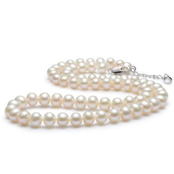 爱泊丽 白色淡水珍珠项链 近圆强光8-9mm 女 珠宝