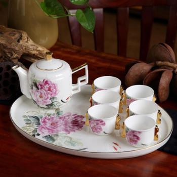 泊杜 唐山骨瓷 手绘茶具套装-牡丹 高端手绘茶具