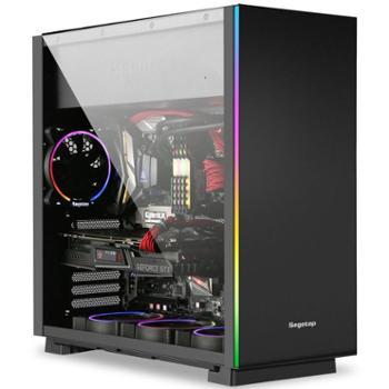 鑫谷凡仕标准版黑色机箱(2条RGB流光灯条/玻璃侧透/0.7mm板材/服务器主板位/背线/防尘)
