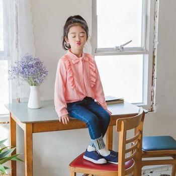 HM003春季童装甜美衬衫中小女童蝴蝶结花边立领上衣衬衣