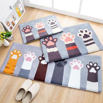 可爱卡通进门地垫萌猫掌家用浴室防滑垫卫浴地毯卧室吸水脚垫