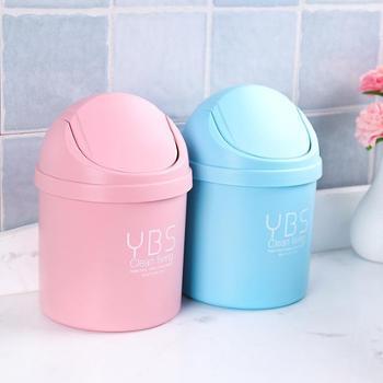 创意迷你桌面垃圾桶小号摇盖式垃圾筒家用客厅带盖塑料纸篓(1个装)