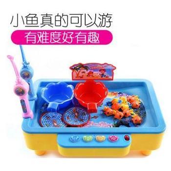 儿童玩具音乐电动钓鱼玩具小猫捕鱼钓鱼达人磁性钓鱼充电款可加水