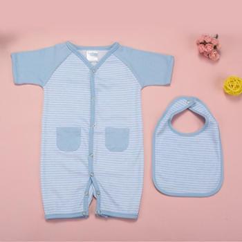 婴幼儿短袖爬服棉毛连体哈衣婴儿连体哈服衣爬服