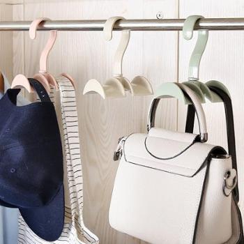 (生活用品)5个装创意多功能可旋转衣柜包包挂架 塑料双挂钩衣帽架领带收纳架