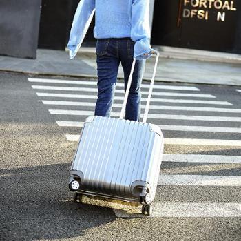 (行李箱)万向轮铝框拉杆箱女迷你电脑箱密码旅行箱小登机箱