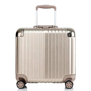 (行李箱)万向轮铝框拉杆箱18寸女迷你电脑箱密码旅行箱小登机箱防刮款