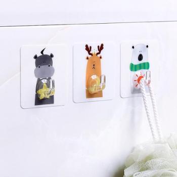 (生活用品)免打孔粘胶挂钩强力承重厨房卡通动物墙壁壁挂无痕免钉钩子粘钩3个装