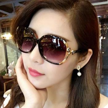 新款时尚山茶花太阳镜镂空点漆玫瑰花墨镜百搭大框女士太阳眼镜