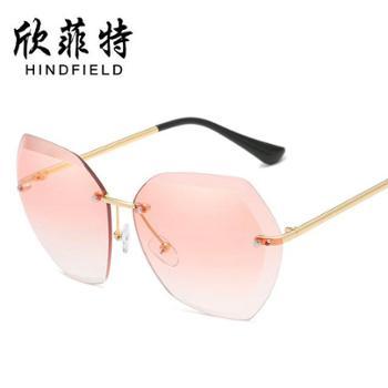 新款海洋片太阳镜欧美潮流眼镜切边墨镜女士无框金属太阳镜
