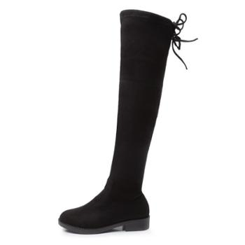 韩都e客GX-1过膝长靴秋冬季新款弹力显瘦百搭学生平底长筒女靴子欧美