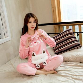 新款女士冬季睡衣加厚法兰绒少女家居服卡通可爱兔子套装