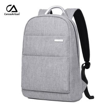 帆布派中性大容量双肩包电脑包商务笔记本背包手提包男女适用