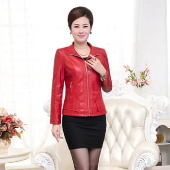 新款中老年女装皮衣大码修身中年妈妈装PU皮夹克短款外套