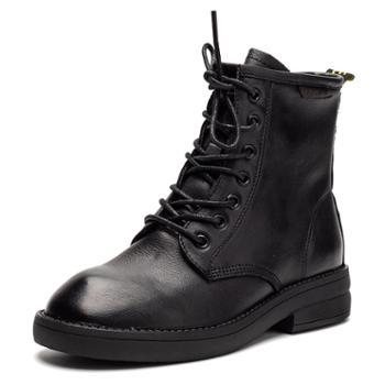 真皮女靴2019冬季系带马丁靴头层牛皮短靴平底