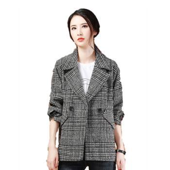 毛呢外套女冬装新款气质格子西装外套呢子保暖大衣厚