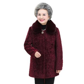 妈妈装仿羊剪绒大衣老年人女奶奶冬装毛呢外套60岁70老人衣服中长