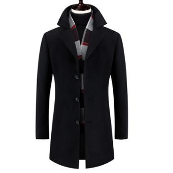 冬季新款男呢大衣修身毛呢大衣男中长款韩版男士呢子大衣男风衣